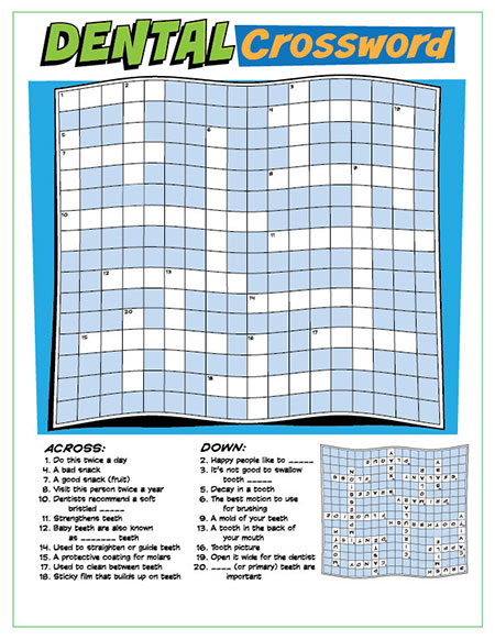 Dental Crossword Puzzle Activity Sheet - Pediatric Dentist in Sandpoint, ID