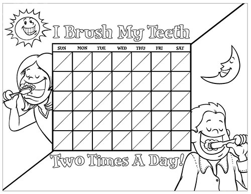 Black and White Brushing Chart for Children - Pediatric Dentist in Sandpoint, ID