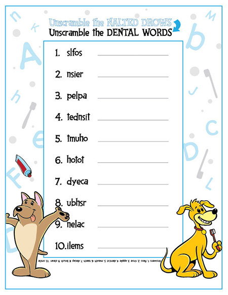 Unscramble the Dental Words Activity Sheet - Pediatric Dentist in Sandpoint, ID