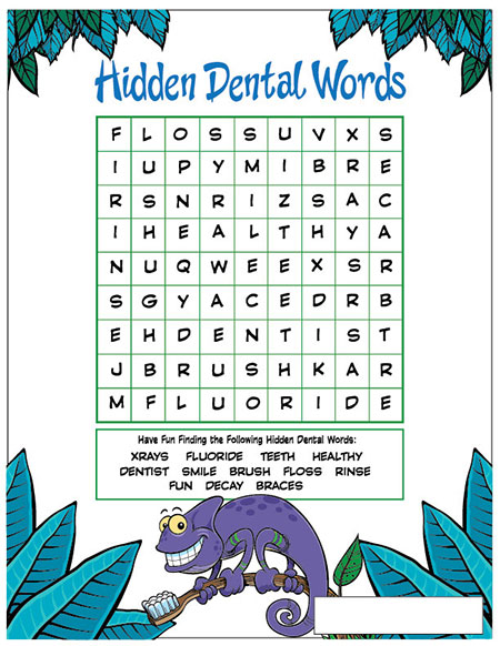 Hidden Dental Words Activity Sheet - Pediatric Dentist in Sandpoint, ID